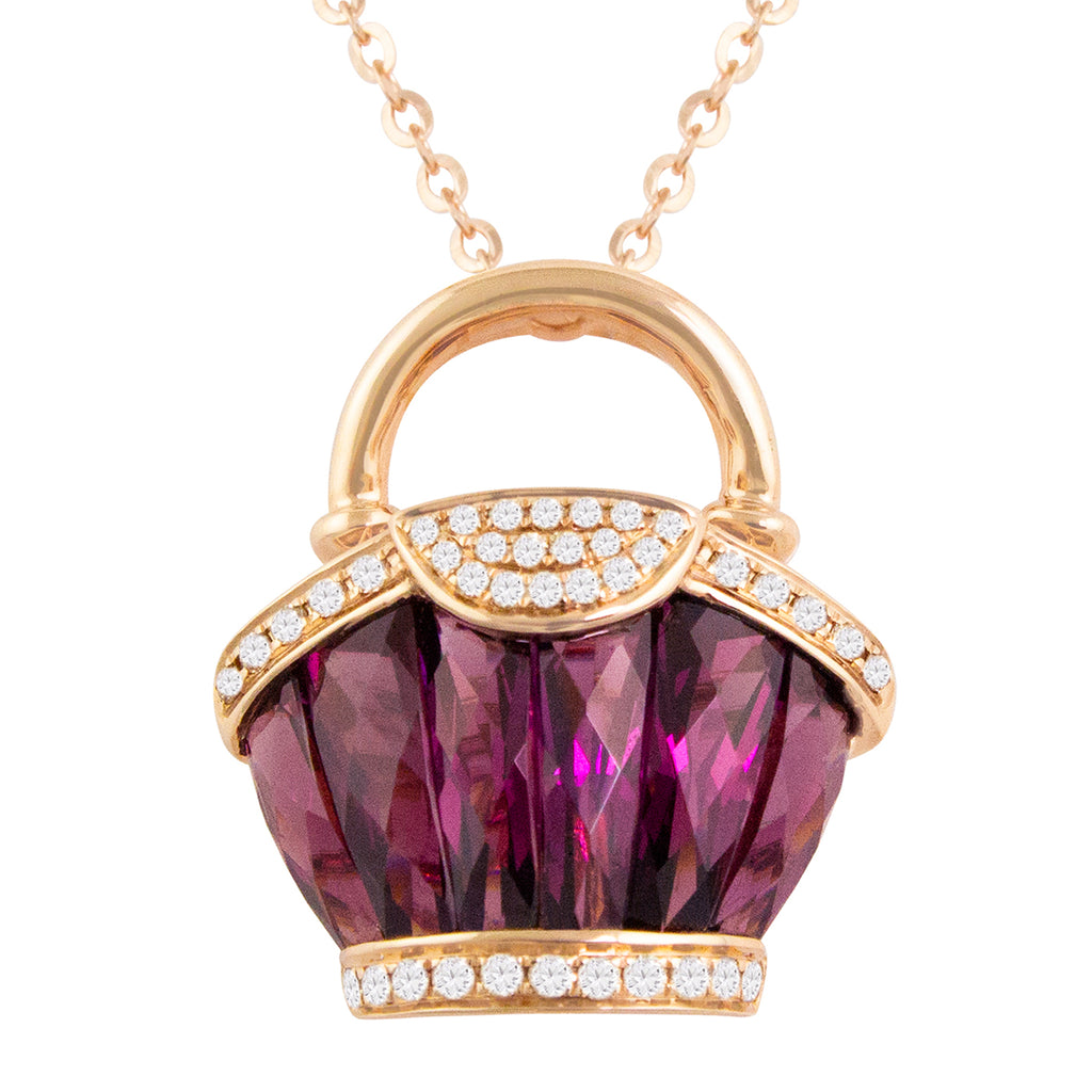 BELLARRI Ava - Necklace (Rose Gold / Diamonds / Rhodolite)