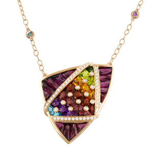 BELLARRI Fresco Necklace - 14kt Rose Gold, Diamonds, Multi Color Gemstones