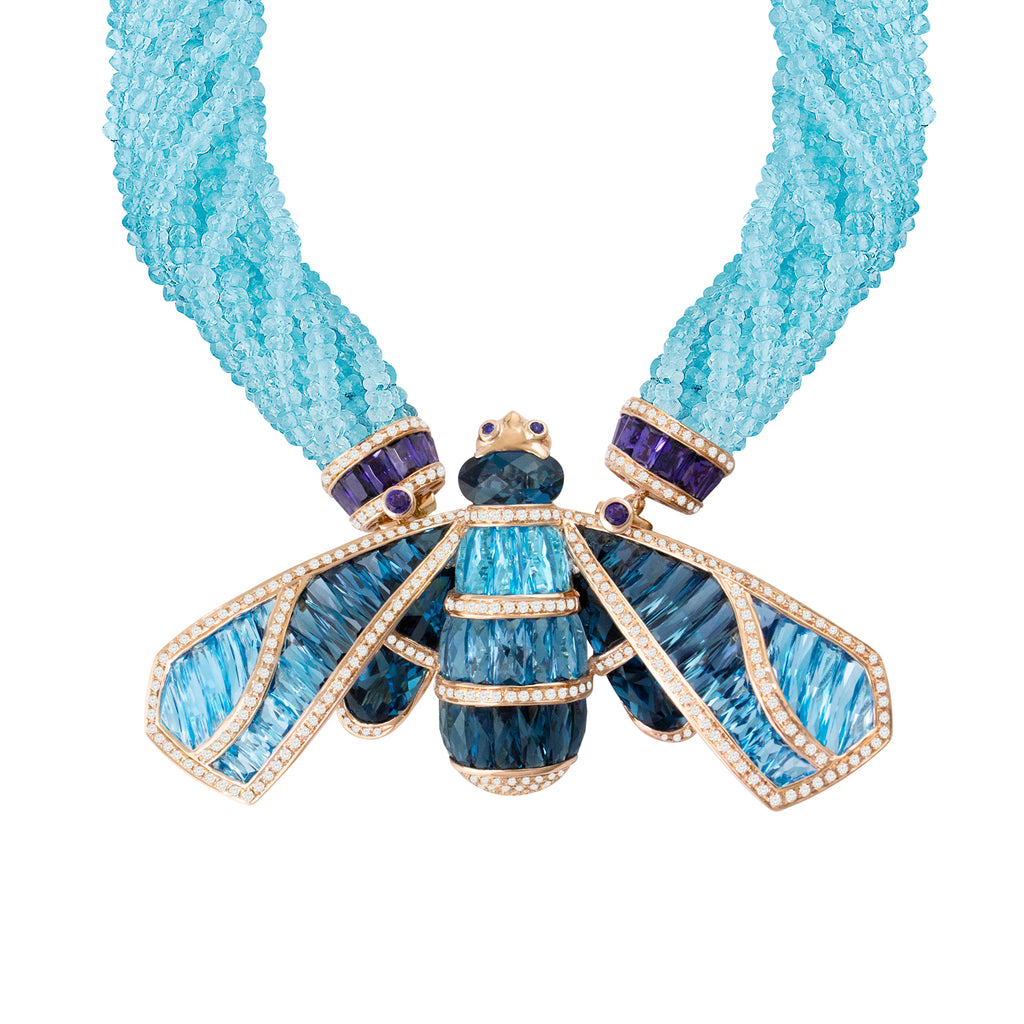 BELLARRI Queen Bee Necklace - 14kt Rose Gold, Diamonds, Swiss Blue Topaz, London Blue Topaz, and Iolite gemstones, with 10 strands of genuine Blue Topaz faceted beads