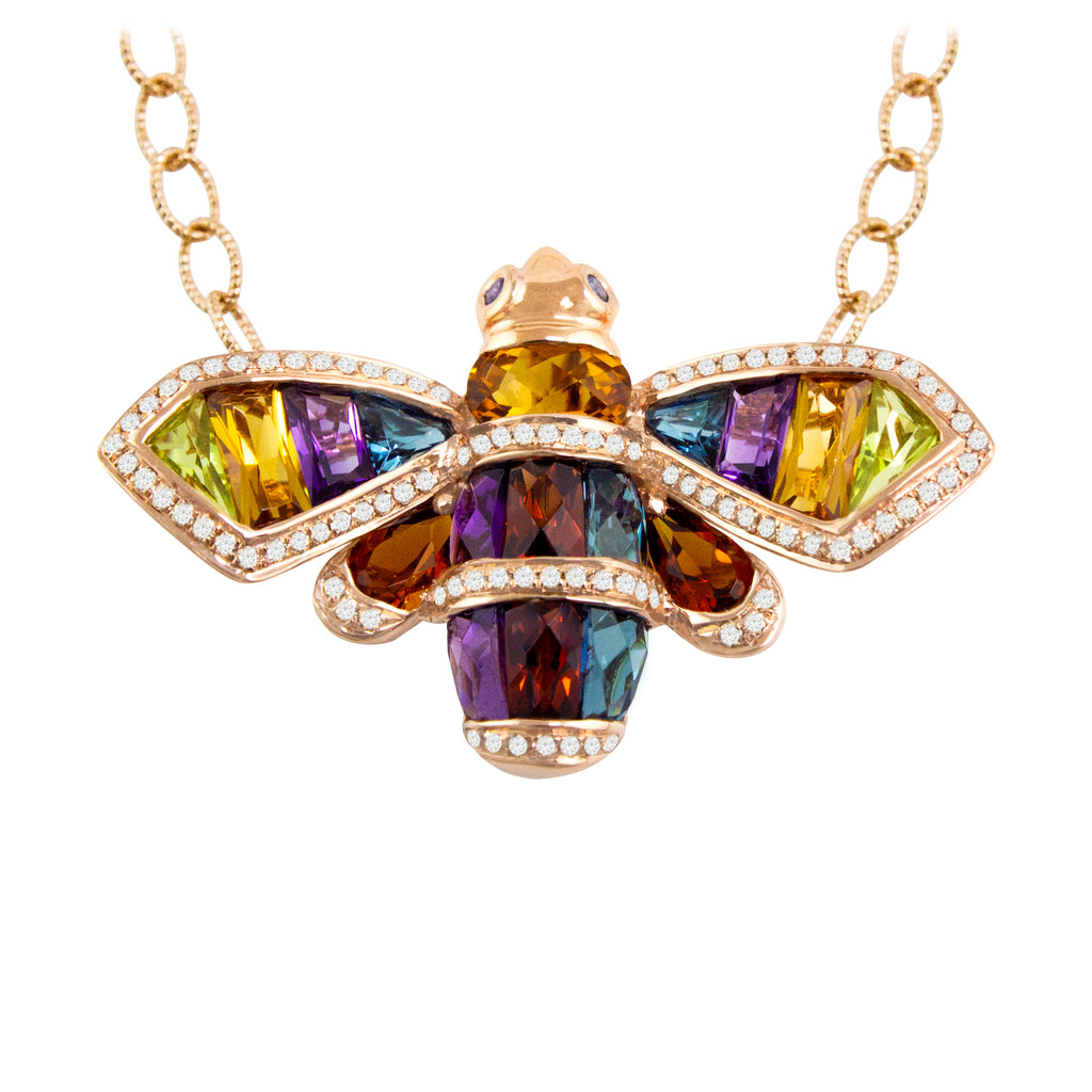 BELLARRI Queen Bee Necklace is 14kt Rose Gold and contains genuine Diamonds, genuine multi color gemstones (Amethyst, Blue Topaz, Citrine, Iolite, Peridot, and Rhodolite) and genuine Sapphires.