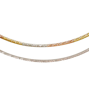 14kt Reversible Omega Chain - One side tri-color (Rose Gold, White Gold, Yellow Gold).  One side all White Gold - from BELLARRI