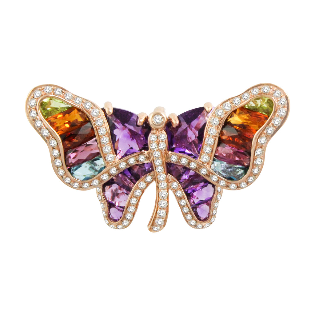 BELLARRI Madame Butterfly - Brooch / Pin / Rose Gold / Multi Color