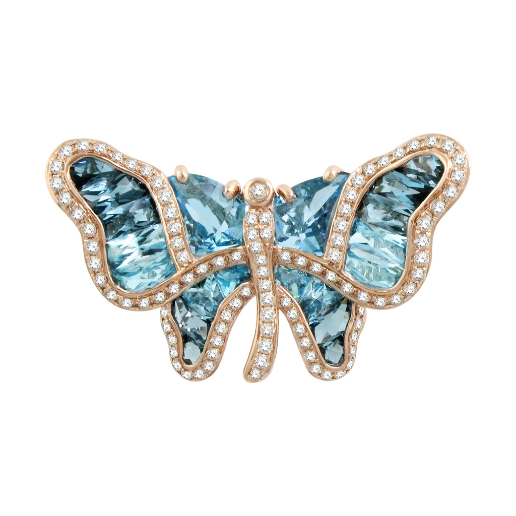 BELLARRI Madame Butterfly - Brooch / Pin / Blue Topaz / Rose Gold