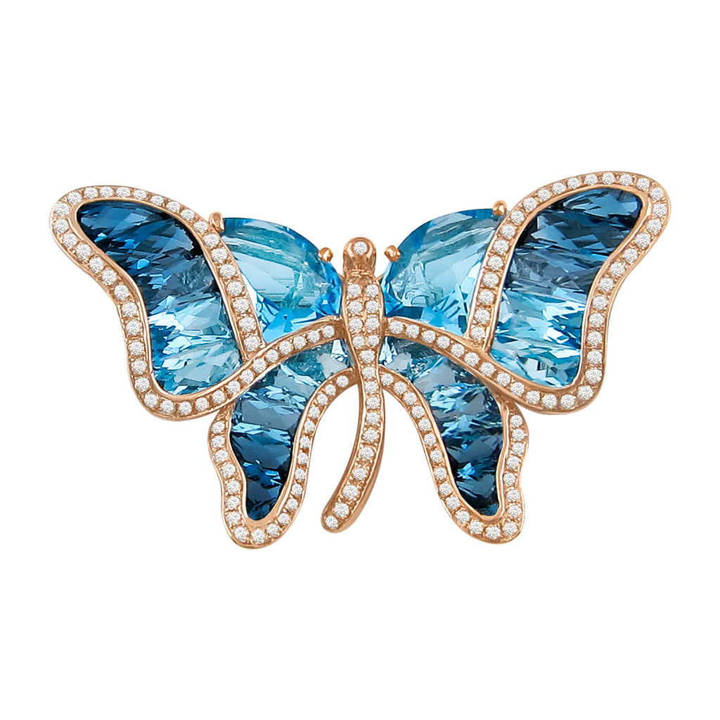 BELLARRI Madame Butterfly - Brooch / Pin / Blue Topaz Gemstones
