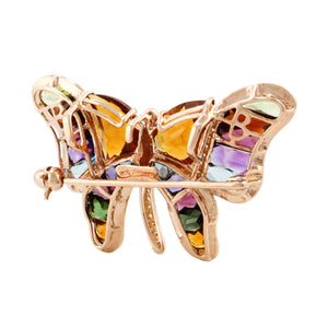 BELLARRI Madame Butterfly - Brooch / Pin / Multi Color / Rose Gold view of back