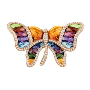 BELLARRI Madame Butterfly - Brooch / Pin / Multi Color / Rose Gold