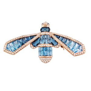 BELLARRI Queen Bee Brooch / Pin - 14kt Rose Gold, Diamonds, Blue Topaz, Sapphires