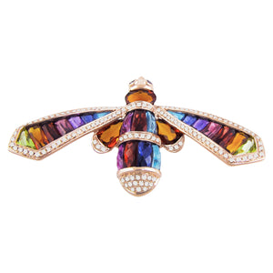 BELLARRI Queen Bee Brooch/Pin - 14kt Rose Gold, Diamonds, Multi Color Gemstones