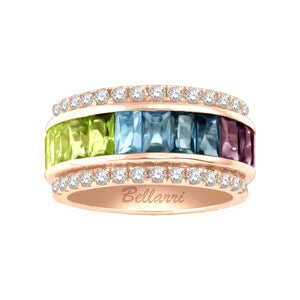 BELLARRI Eternal Love - Rose Gold / Multi Color Gemstone Ring with Diamonds. Size 7.5 only