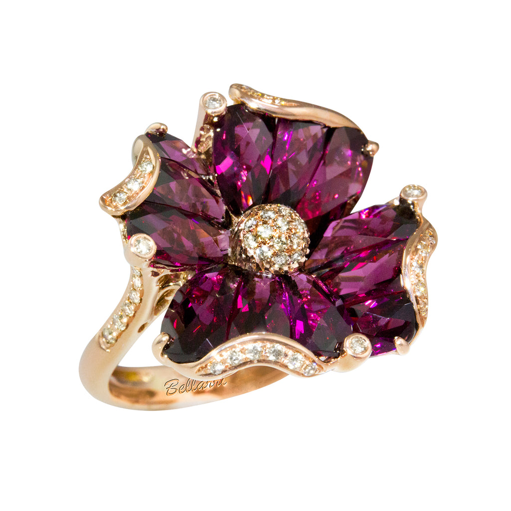 BELLARRI Mademoiselle - Ring  (set in Rose Gold with Rhodolite Gemstones)