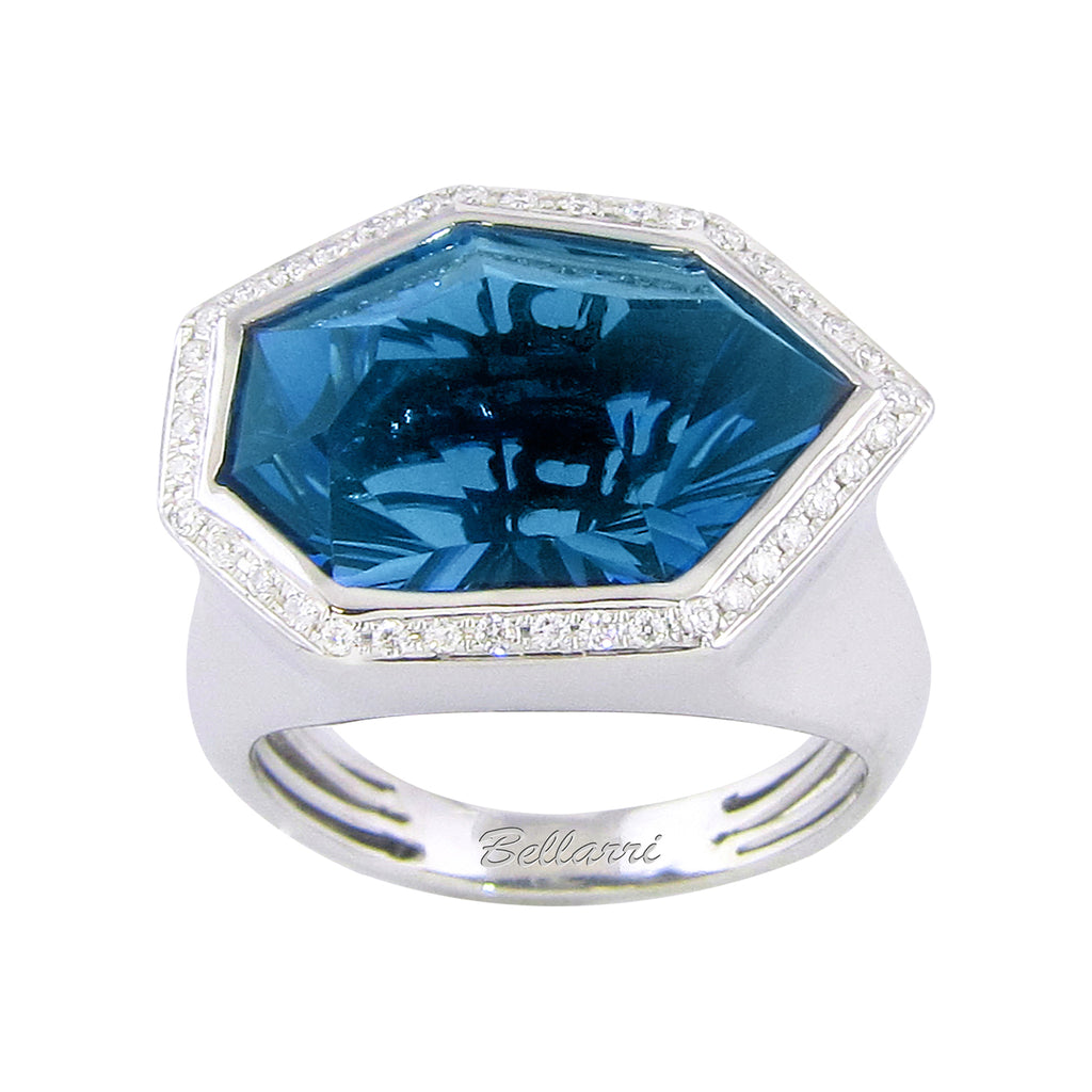 BELLARRI Tuscany - Ring  (14kt White Gold and London Blue Topaz)