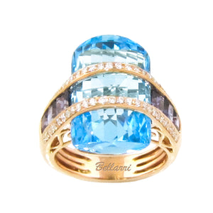 BELLARRI Tango - Ring (Rose Gold, Blue Topaz)