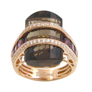 BELLARRI Tango Ring - Limited Edition (Rose Gold, Smokey Quartz, Rhodolite)