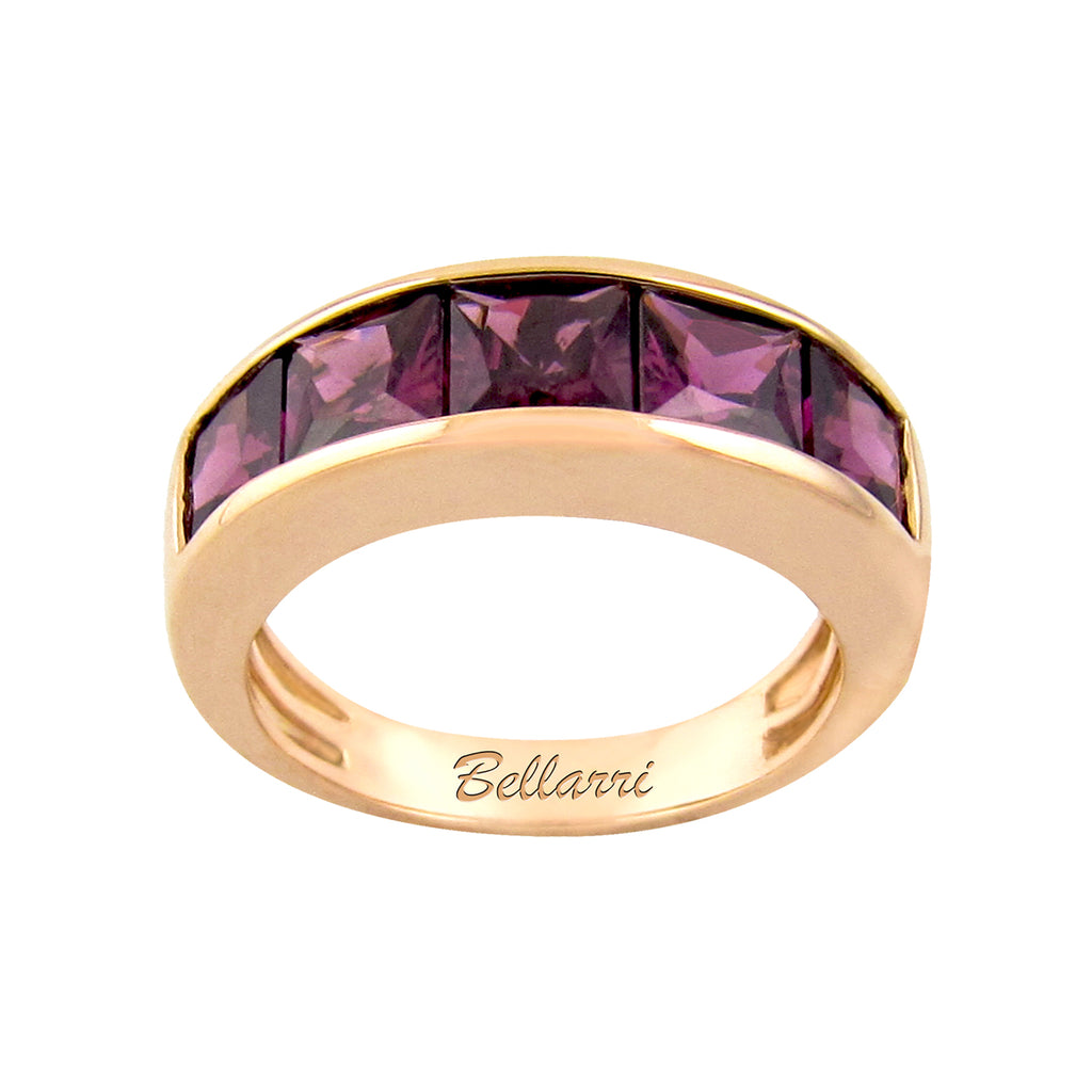 BELLARRI Eternal Love - Ring (Rose Gold / Rhodolite). Approximately 5mm wide.