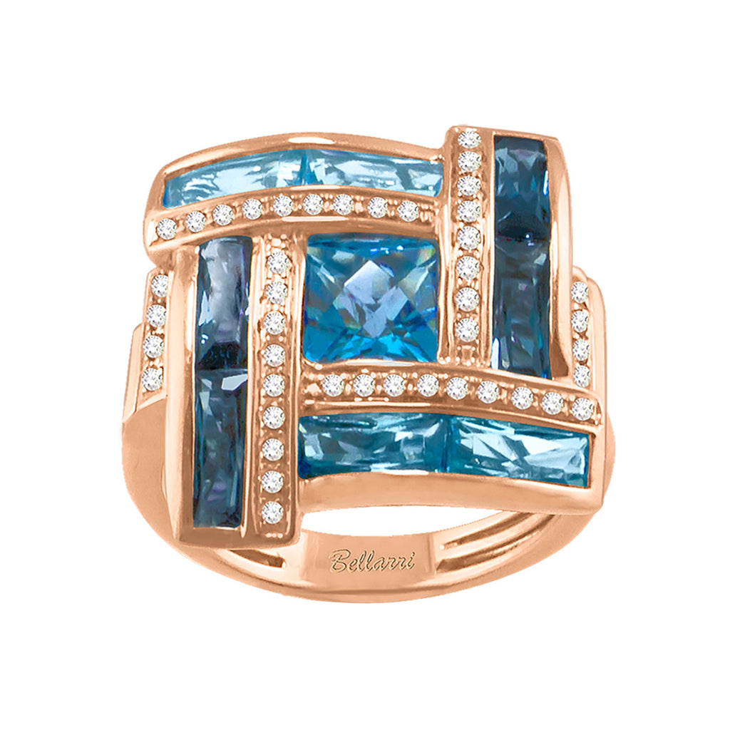 BELLARRI Galaxy of Love - Ring (Rose Gold / Diamonds / Blue Topaz)