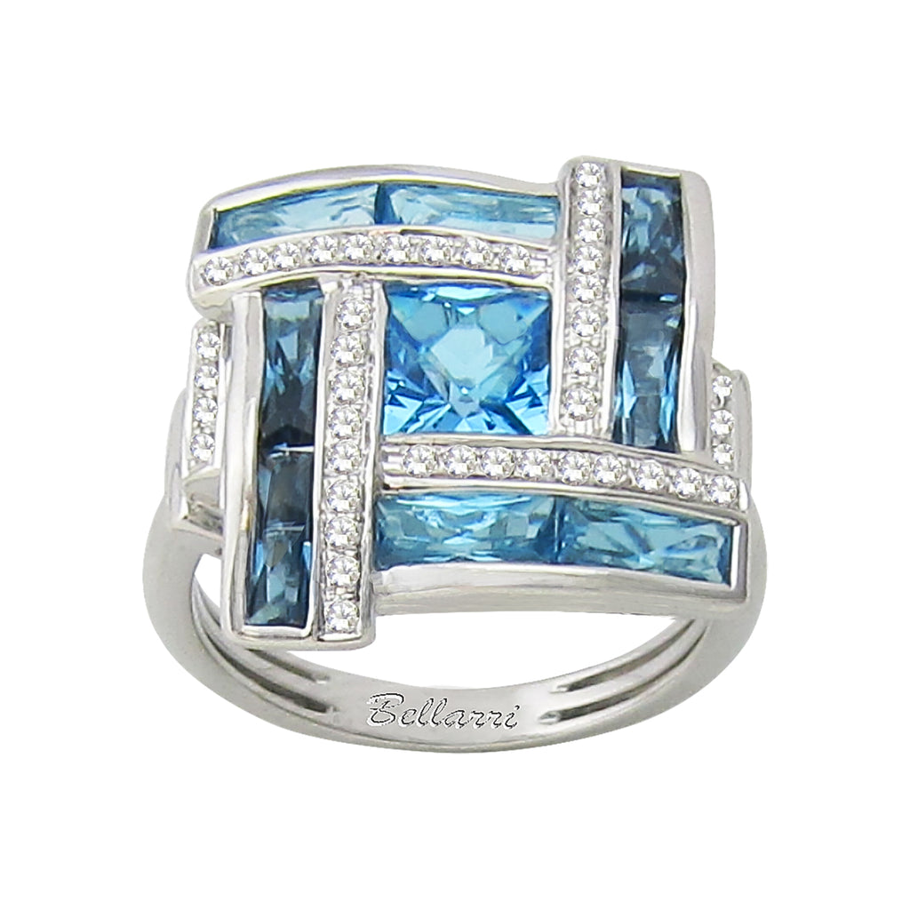 BELLARRI Galaxy of Love - Ring (White Gold / Diamonds / Blue Topaz)