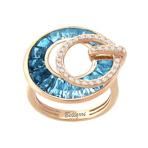 BELLARRI Poetry in Motion Ring (Rose Gold & Blue Topaz) large version