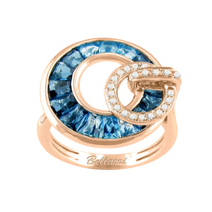 BELLARRI Poetry in Motion Ring (Rose Gold & Blue Topaz) smaller version