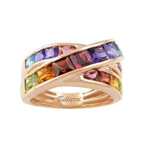 BELLARRI Eternal Love - Rose Gold / genuine Multi Color Gemstone Ring