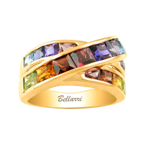 BELLARRI Eternal Love Ring - Yellow Gold / Multi Color Gemstones