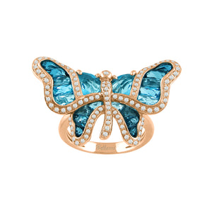 BELLARRI Madame Butterfly - Ring (Blue Topaz / Diamonds/ Rose Gold)