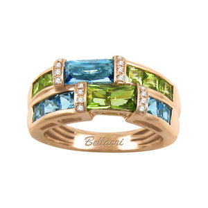 BELLARRI Marquesa - Ring (Rose Gold / Diamonds / Blue Topaz / Peridot)
