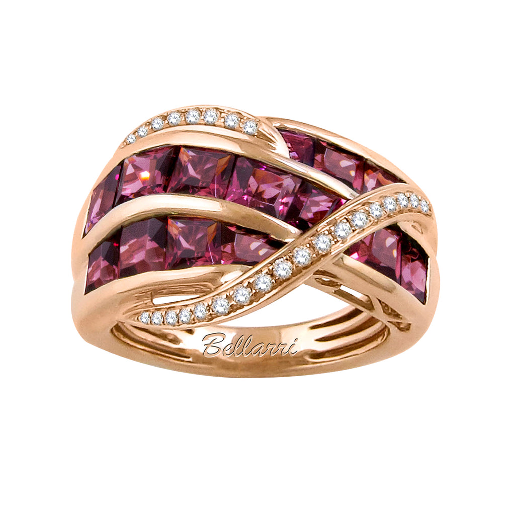 BELLARRI Capri - Ring (Rose Gold, Diamonds and Rhodolite)