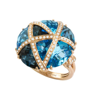 BELLARRI Fresco Ring - 14kt Rose Gold, Diamonds, London Blue Topaz, Swiss Blue Topaz