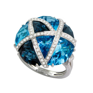 BELLARRI Fresco Ring - 14kt White Gold, Diamonds, London Blue Topaz, Swiss Blue Topaz