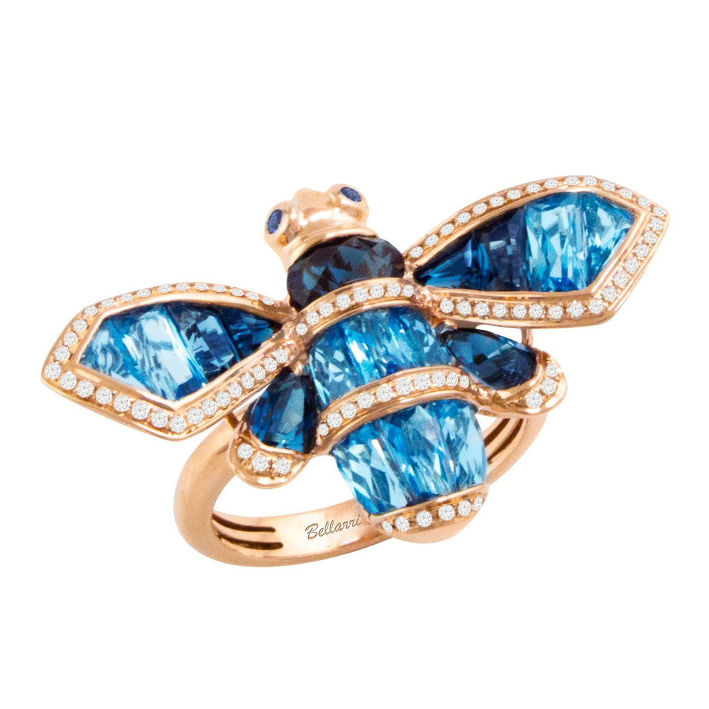 BELLARRI Queen Bee Ring - 14kt Rose Gold, Diamonds, Swiss Blue Topaz, London Topaz, Sapphires