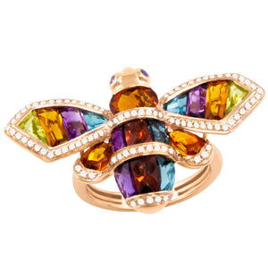 BELLARRI Queen Bee Ring - 14kt Rose Gold, genuine Diamonds, Multi Color Gemstones