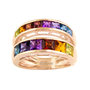 BELLARRI Eternal Love Ring - Rose Gold / Multi Color Gemstone