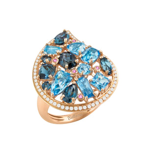 BELLARRI Fresco Ring - 14kt Rose Gold, Diamonds, Swiss Blue Topaz, London Blue Topaz, Pink Sapphires