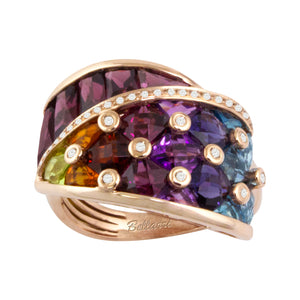 BELLARRI Fresco Ring - 14kt Rose Gold, Diamonds, Multi Color Gemstones