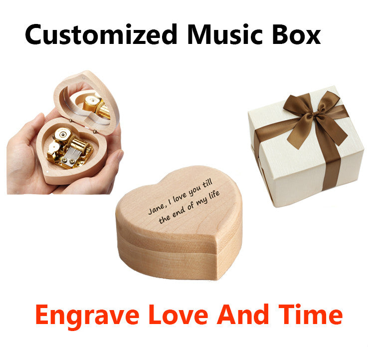 Engraved Heart Shape Music Box - Candyhousehold