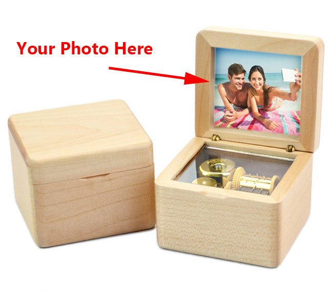Customized Photo Engraved Maple Music Box - Candyhousehold