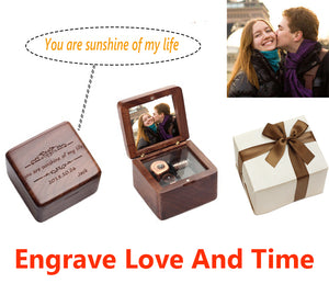 Photo Engraved Walnut  Music Box - Candyhousehold