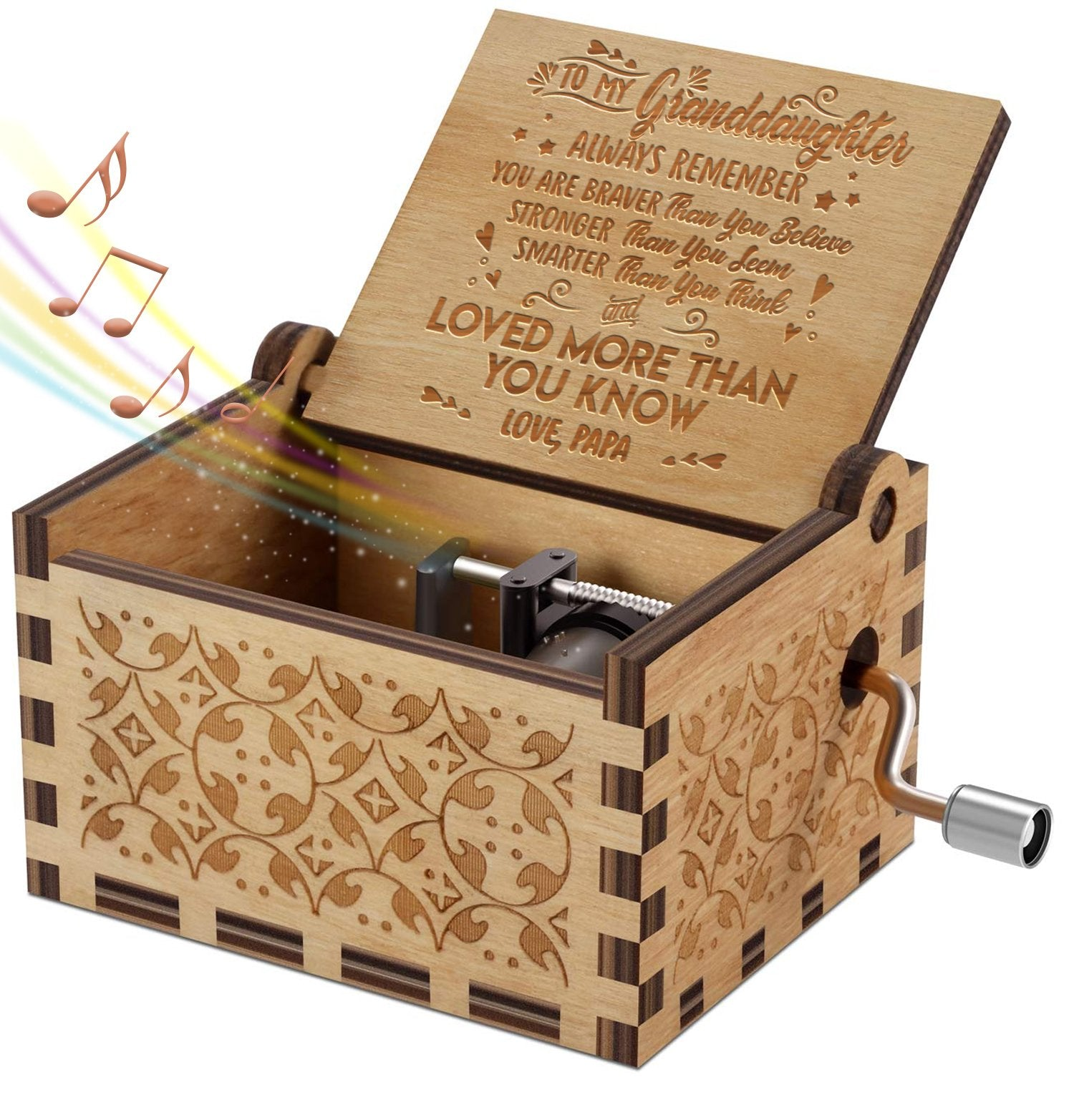 Papa To Granddaughter - You Are Loved More Than You Know - Engraved Music Box - Candyhousehold