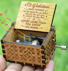 Grandma To Grandson - You Are Loved More Than You Know - Engraved Music Box - Candyhousehold