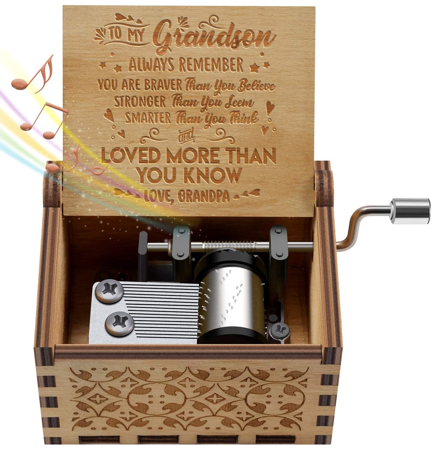 Grandpa To Grandson - You Are Loved More Than You Know - Engraved Music Box - Candyhousehold