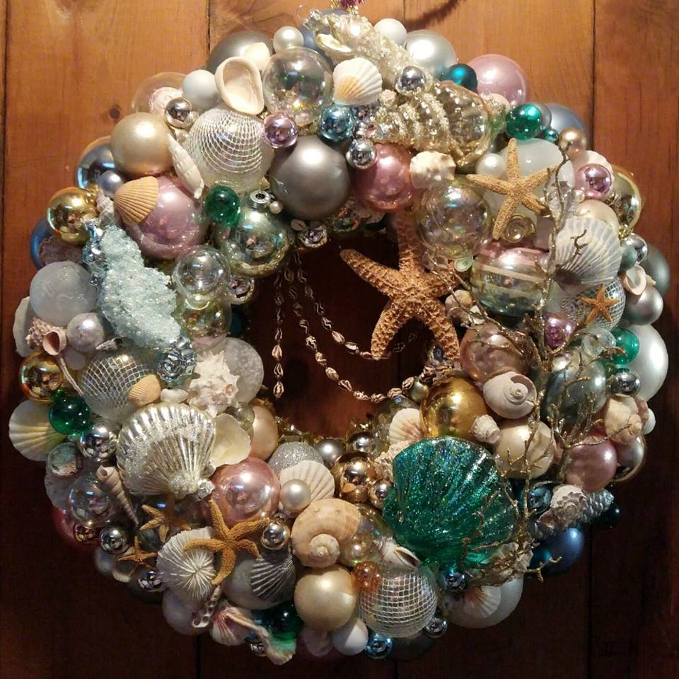Ornament Wreath, Nautical Theme, Seashell Wreath, Pastel Ornaments MADE TO ORDER