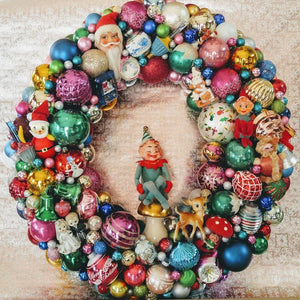 Ornament Wreath, Knee Hugger Elf, Shiny Brite, Kitsch, Deer, 24 inches wide, SOLD, MADE TO ORDER