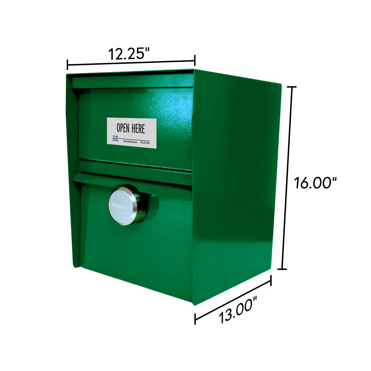Unmanned Secure Locking Drop Box with Dimensions