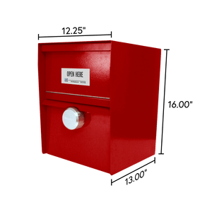 Unmanned Secure Locking Drop Box with Dimensions - Red