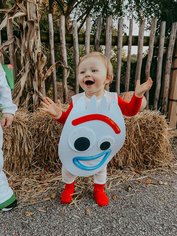 baby wearing layered Kyte pieces for a Forky Halloween costume
