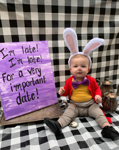 baby dressed as the white rabbit for halloween in kyte baby pieces