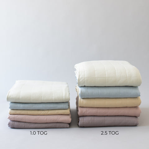 1.0 Tog and 2.5 Tog Adult Blanket Height Comparison of 5 blankets stacked