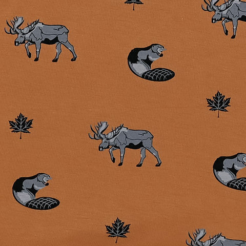 Swatch of Canadian Print Featuring Moose, Beaver and Canada Maple Leaf