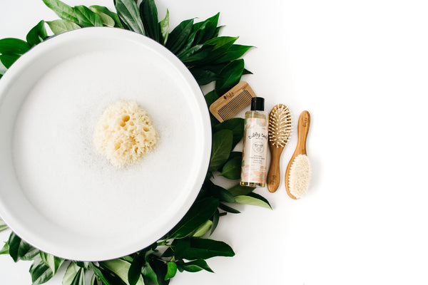 Sea Sponge and Bamboo Brush Set