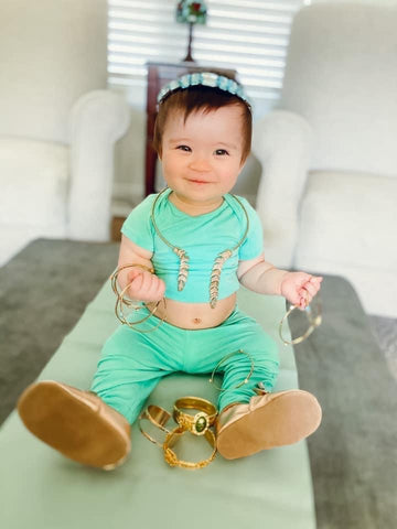 baby dressed as princess jasmine for halloween in kyte baby pieces